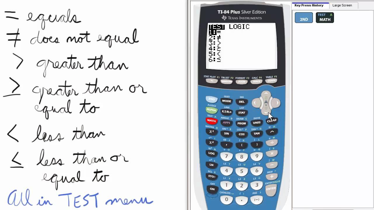 Inequality Symbols Ti 84 Calculator Top Priority Functions Youtube