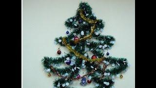 Новогодняя елка в маленькой квартире Елка на стене