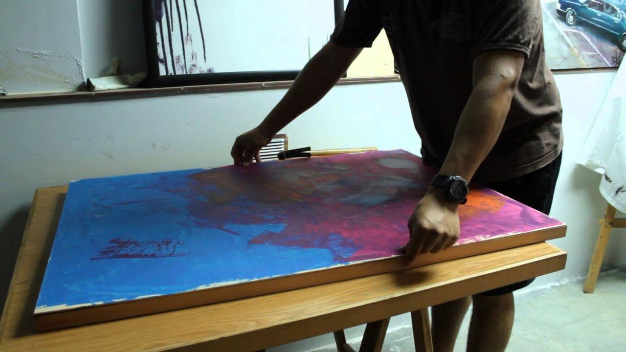 como poner un bastidor de madera a nuestro lienzo - YouTube