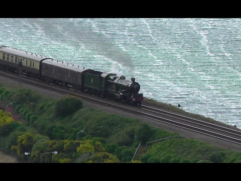 5043 Roars past Old Colwyn hauling 'The Welsh Dragon' 20-06-2015