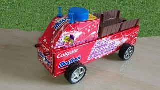 How To Easily Make A Colgate Box Truck At Home || diy colgate toys