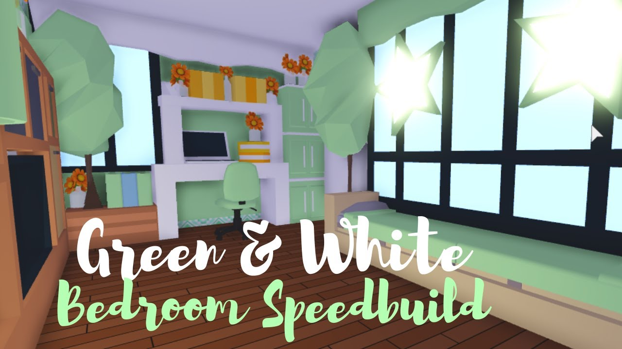 Green White Bedroom Speedbuild Roblox Adopt Me Youtube