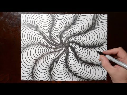 How to Draw Curved Line Illusions - Spiral Sketch Pattern 10