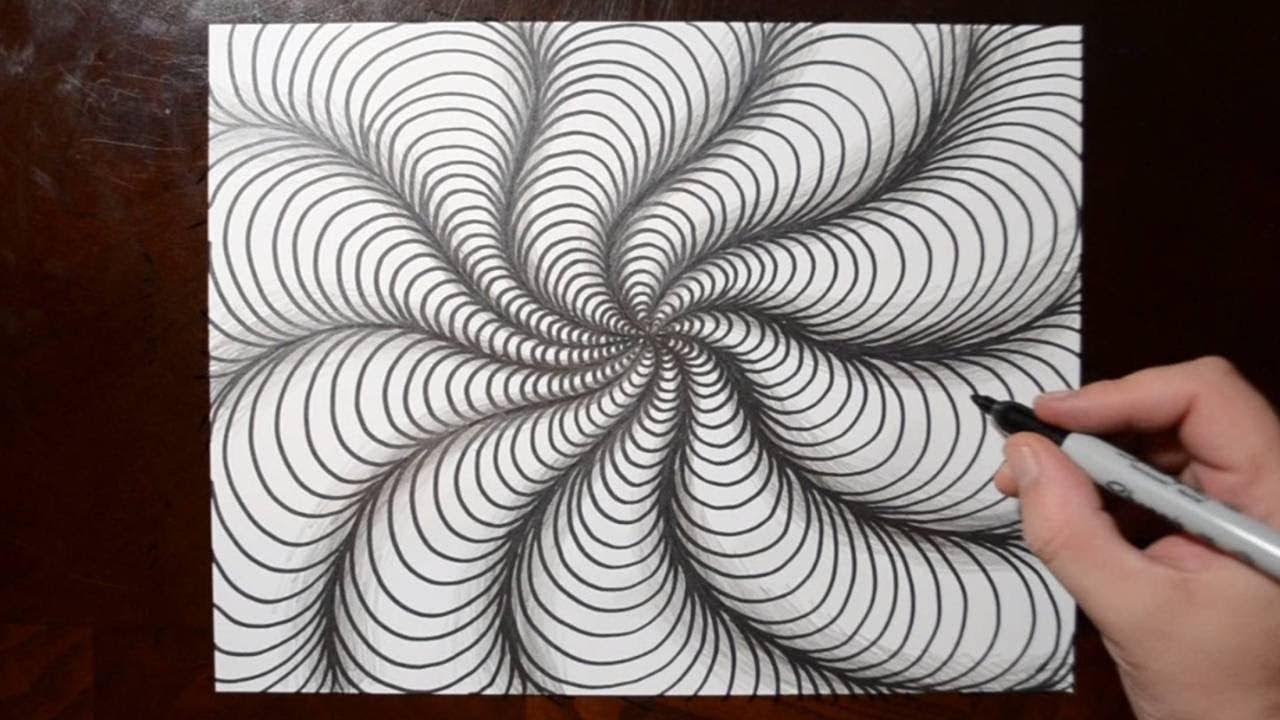 Line Drawing Illusion : How to draw curved line illusions spiral sketch pattern