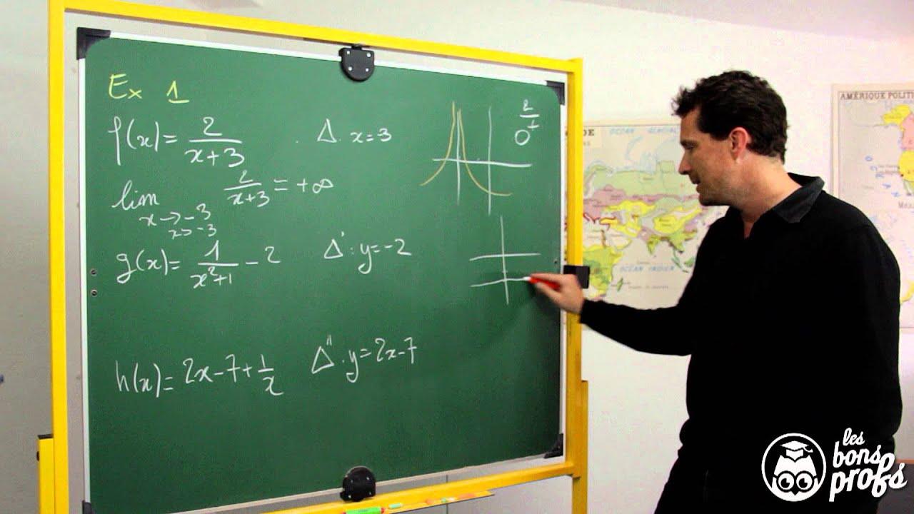 Droites asymptotes - Exercice - Maths terminale - Les Bons Profs - YouTube