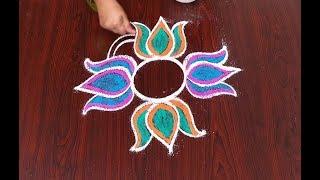 lotus & pongal panai kolam - sankranthi muggulu - latest bhogi kundalu