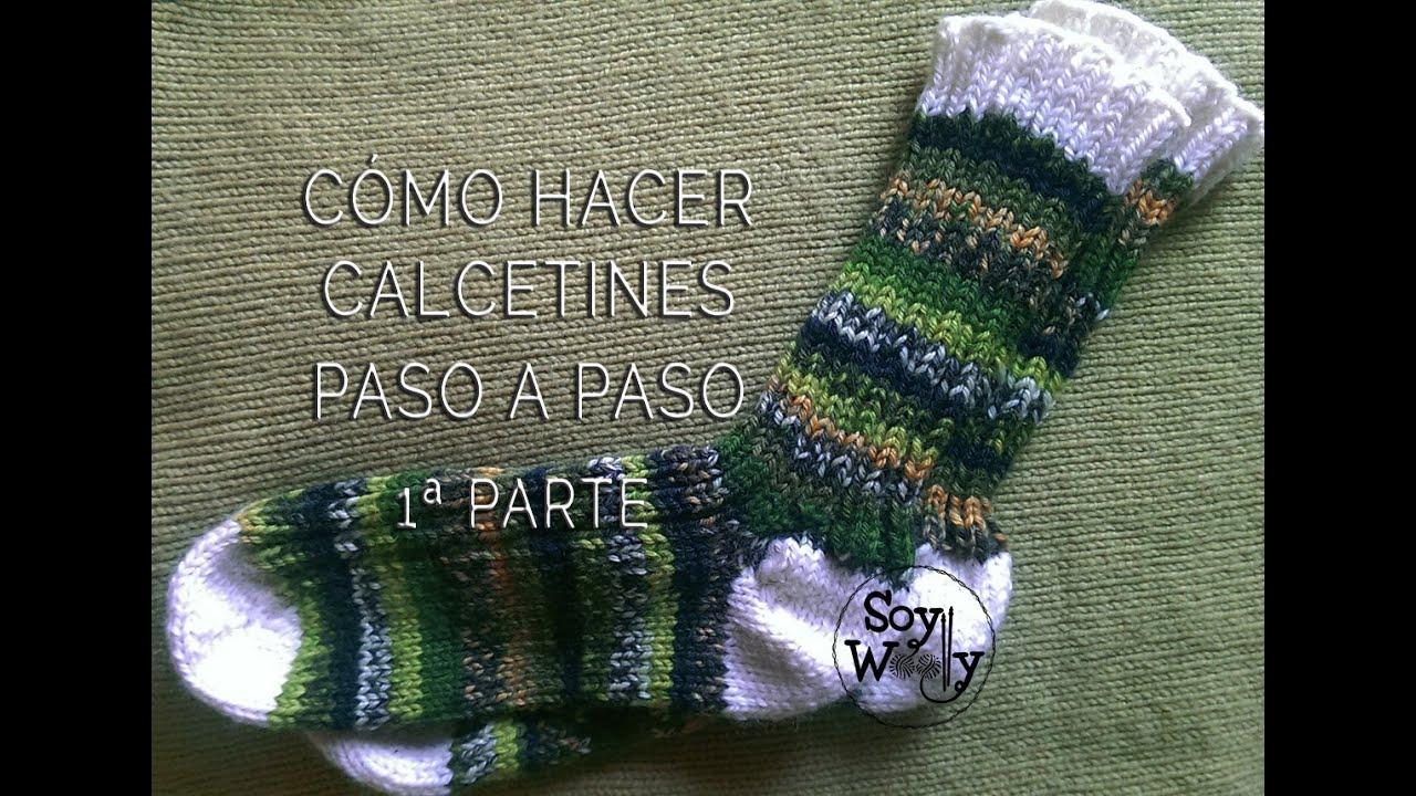 C mo tejer calcetines con dos agujas 1 parte viyoutube - Como hacer talon de calcetines de lana ...