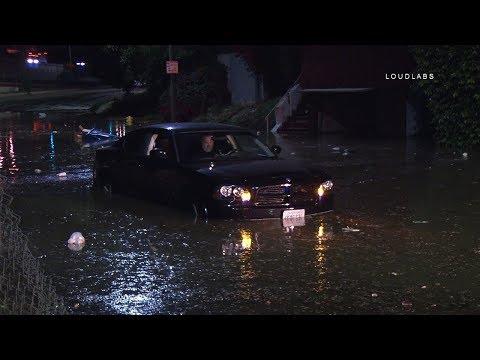 Man Gets Car Stuck in Water Main Break / Hollywood  RAW FOOTAGE