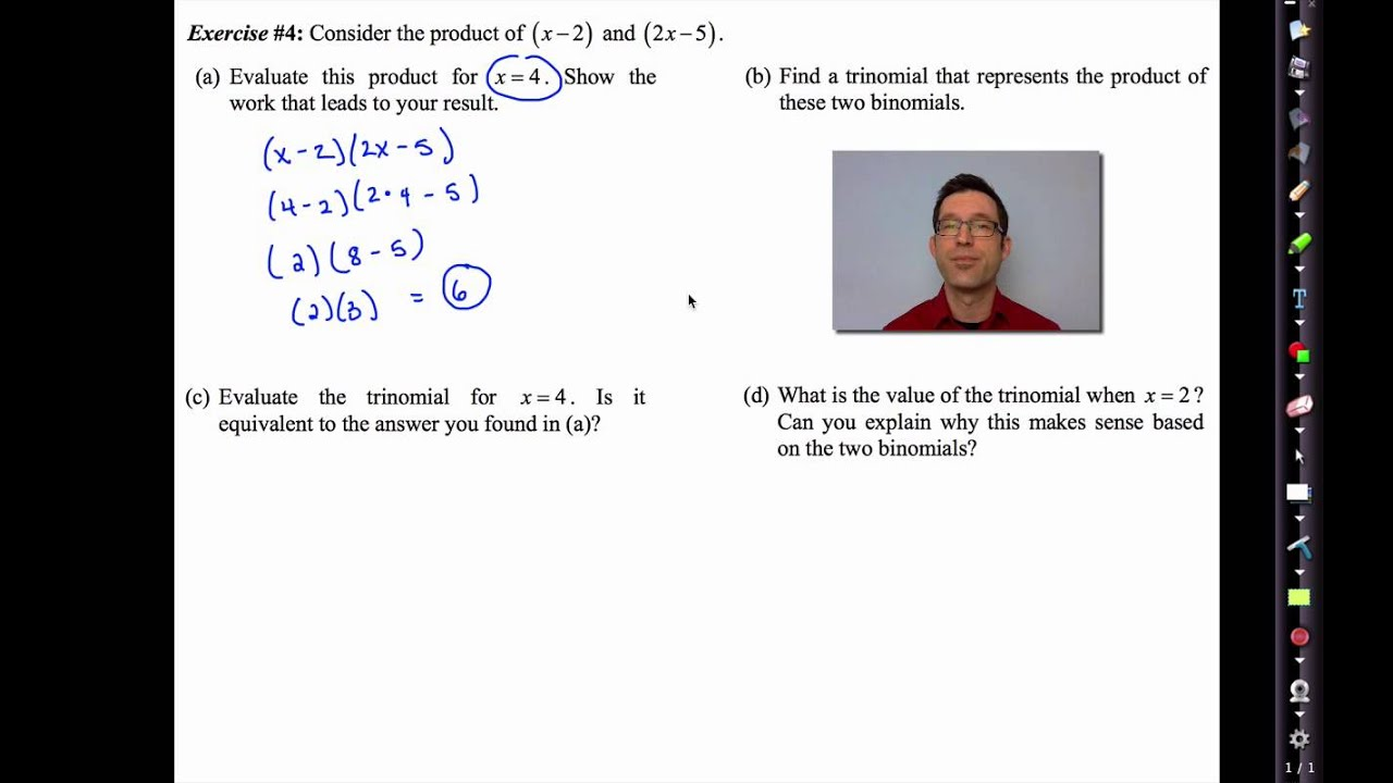 Common Core Algebra II Unit 1 Lesson 5 Multiplying Polynomials