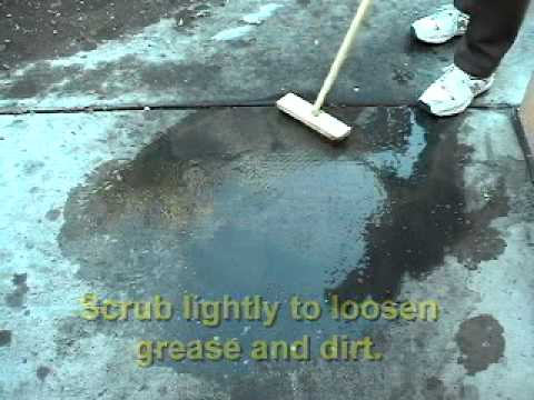 How to clean concrete floors with quick degreaser youtube for How to degrease concrete floor