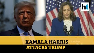 'Not up for the job': Kamala Harris slams Trump in first speech as VP nominee
