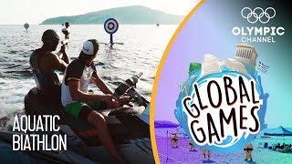 Aquatic Biathlon - Olympians vs Influencers | The Global Games