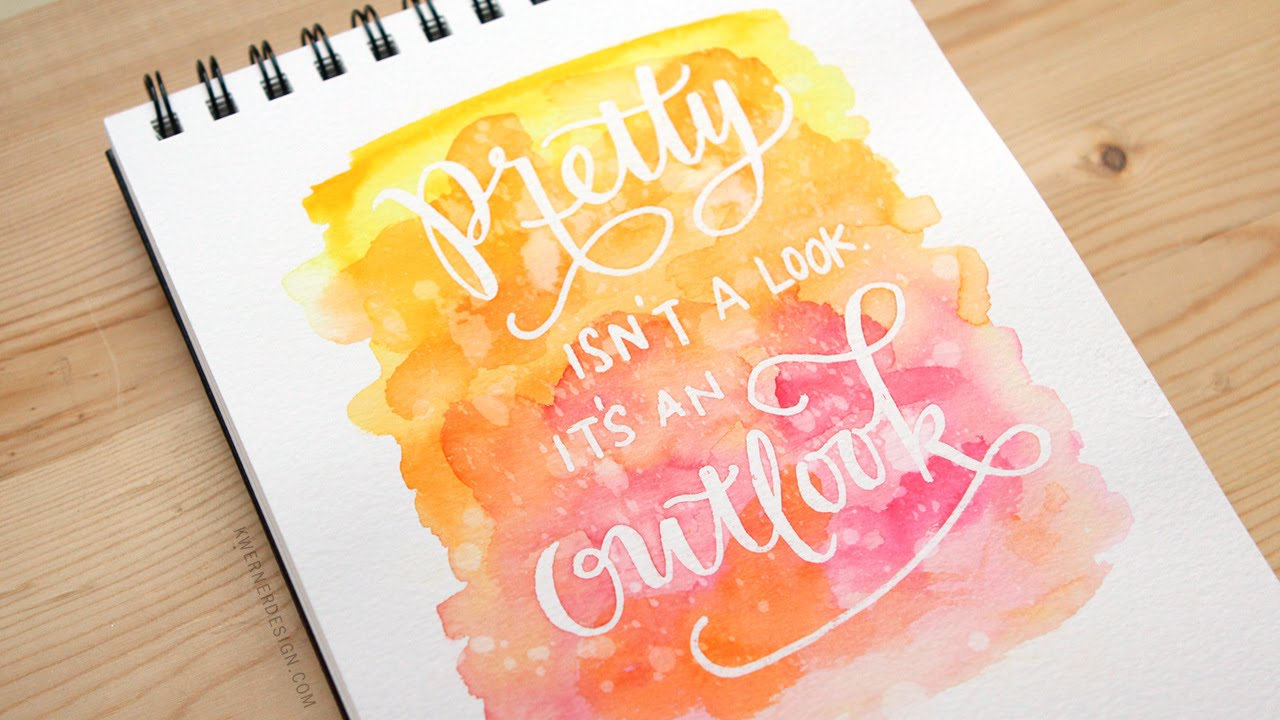 Masked Lettering With Watercolor Background