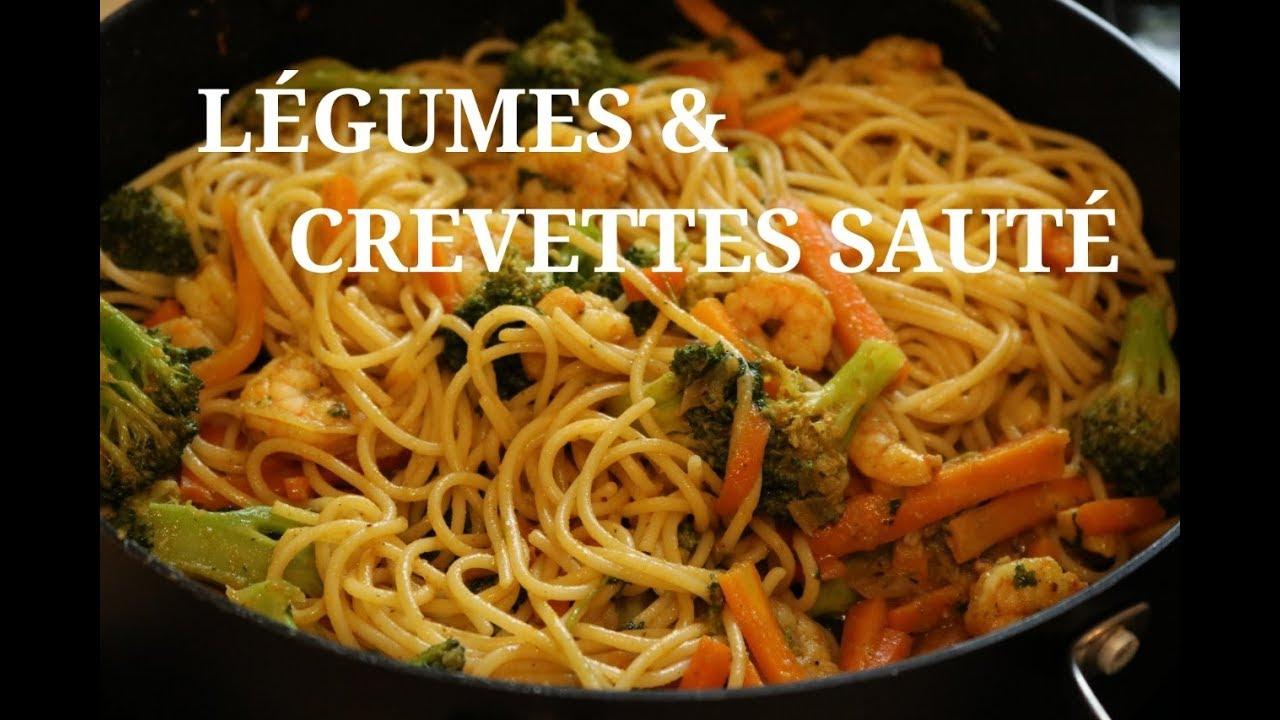 Recette Legumes Et Crevettes Saute Aux Pates Youtube