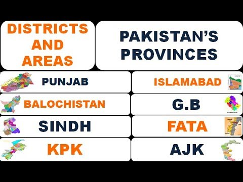 DISTRICTS AND TOTAL AREAS OF THE PROVINCES OF PAKISTAN