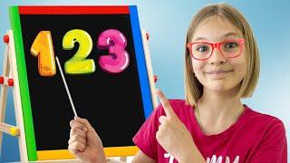 Amelia, Avelina and Akim study at school. Pretend play fun for kids.