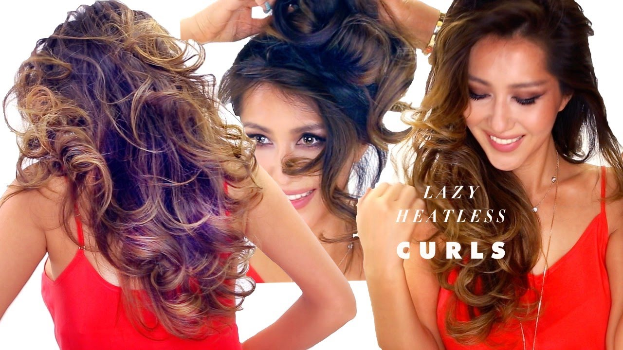 E   Lazy Heatless Curls Overnight Hairstyle  Easy Waves School Hair Youtube