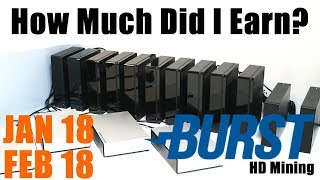My Burstcoin Mining Earnings Update January & February 2018