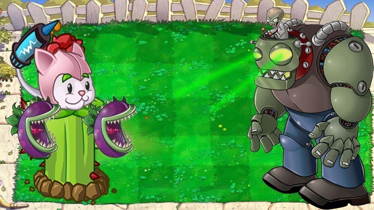 Plants vs Zombies Hack - 99 Cattail Chomber vs Dr. Zomboss