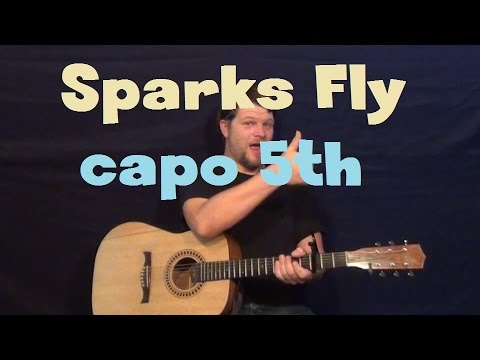 Sparks Fly Taylor Swift Capo 5th Easy Guitar Lesson Strum Chord
