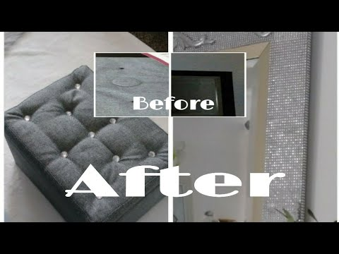 Diy/Tuffted/Afforable/Glam Ottoman/Furniture/ MakeOver