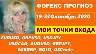 ФОРЕКС ПРОГНОЗ,  19 - 23  Октября 2020, Мои Точки Входа Покупок и Продаж