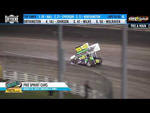 Knoxville Raceway Pro Sprints Highlights - August 24, 2019