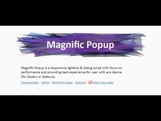 Magnific Popup jQuery Plugin Uses in HTML Template