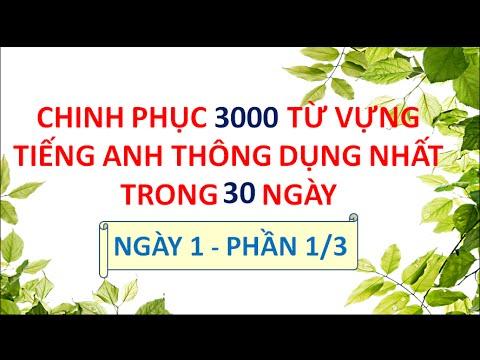 3000 Từ Vựng Tiếng Anh Thông Dụng Nhất - Ngày 1 Phần 1/3A