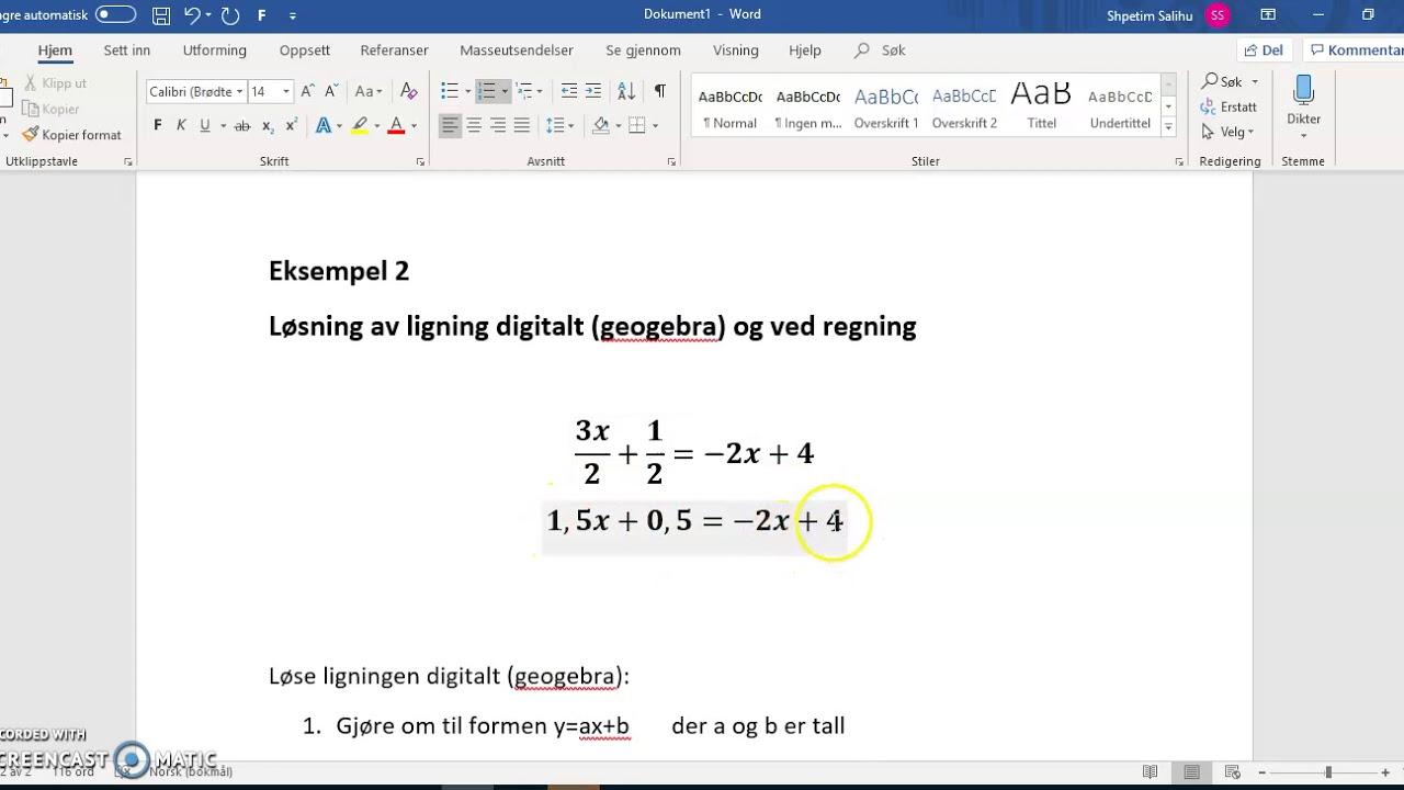 Kap 7:Løs ligningen digitalt Eksempel 2 (1P)