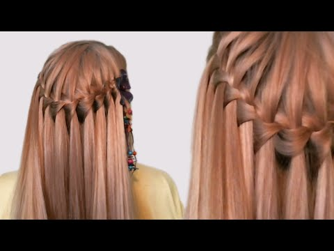 Hairstyle French Waterfall for Medium Long Hair Tutorial| Прическа Французский Водопад| Видео Урок