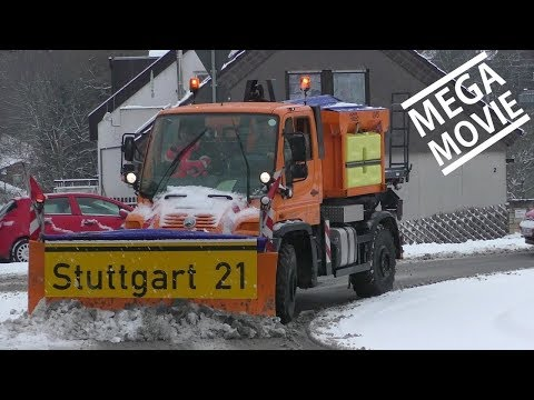 """Schneealarm """"Stuttgart 21"""" MEGA MOVIE Winterdienst Räumfahrzeuge Waldenbuch -snow removal snowplows"""