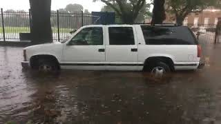 Street flooding in Mid-City as storms roll through New Orleans