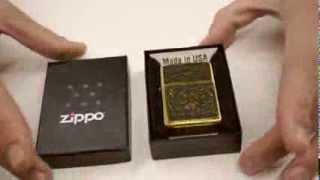 Зажигалка Zippo 20903 Gold Floral Flush Emblem Brushed Brass