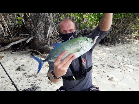 Bluefin Trevally On First Cast In The Maldives! - Fishing In Thoddoo