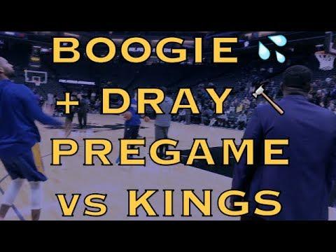 "DeMarcus ""Boogie"" Cousins 3s + Draymond Dunk, Pregame Routine Before Warriors (19-10) Vs Kings"