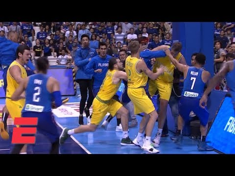Punches thrown and chairs hurled in brawl at Philippines-Australia FIBA World Cup qualifier | ESPN