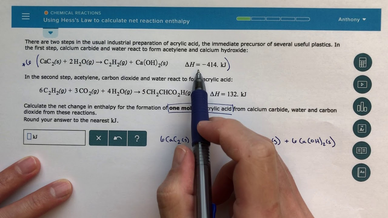 ALEKS - Using Hess's Law to Calculate Net Reaction Enthalpy