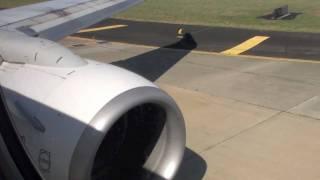 VH-VXQ Qantas Boeing 737-800 Take off No1 Engine View Turbine Row 4