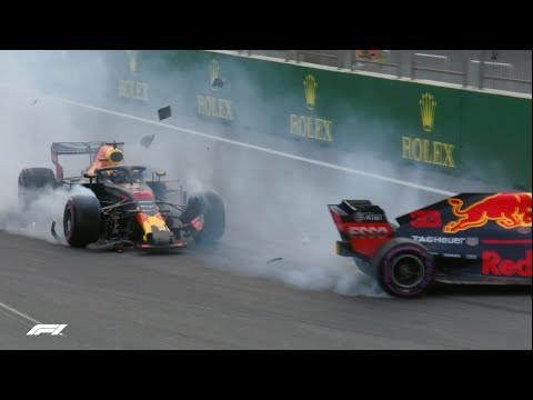 All The Angles: Ricciardo and Verstappen Crash | 2018 Azerbaijan Grand Prix