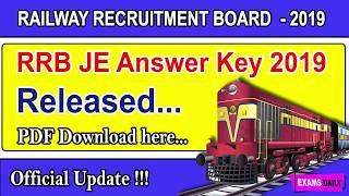 RRB JE Answer Key 2019 II RRB JE Answer Key Official 2019 - Released
