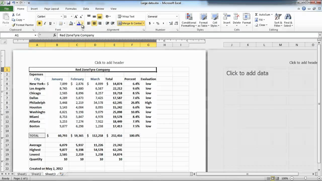 How To Apply Fonts Background Colors And Borders In Excel 2010