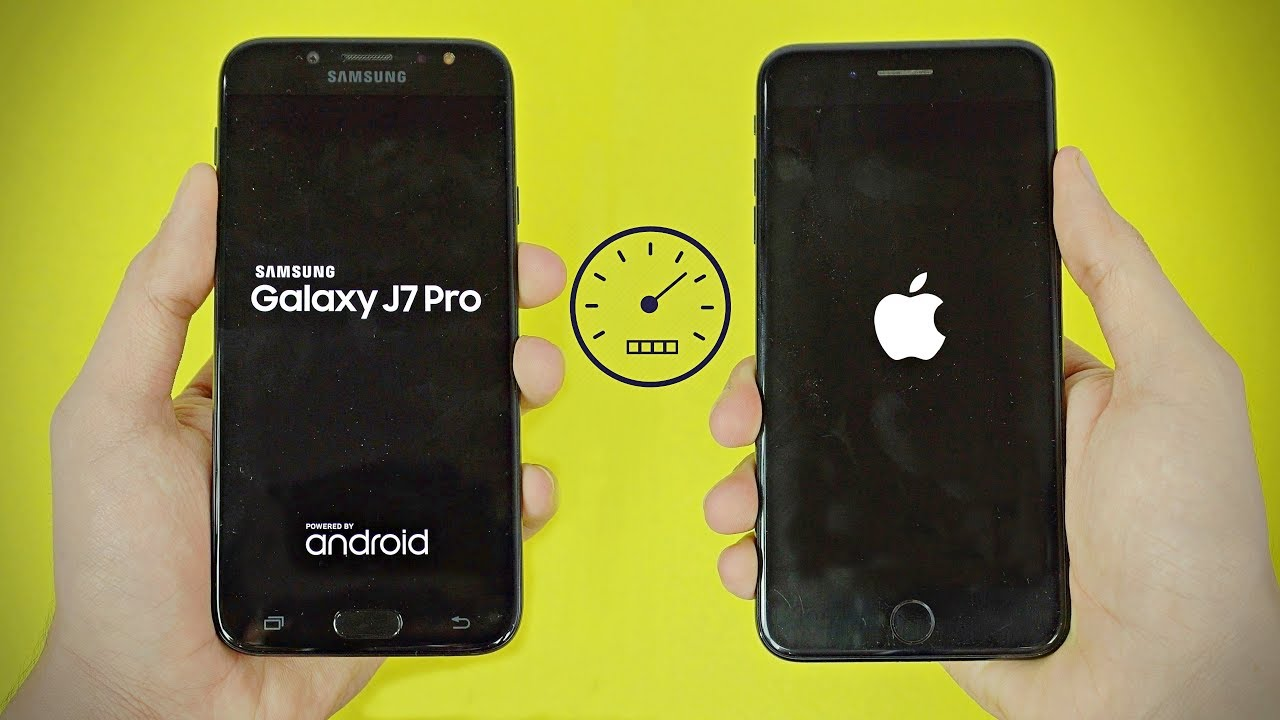 Samsung Galaxy J7 Pro 2017 Vs Iphone 7 Plus Speed Test 4k Youtube