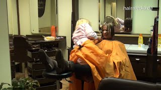 8131 trailer Barberette forced punishment haircut by boss trailer apron salon