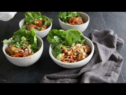 Pork meatball noodle bowls