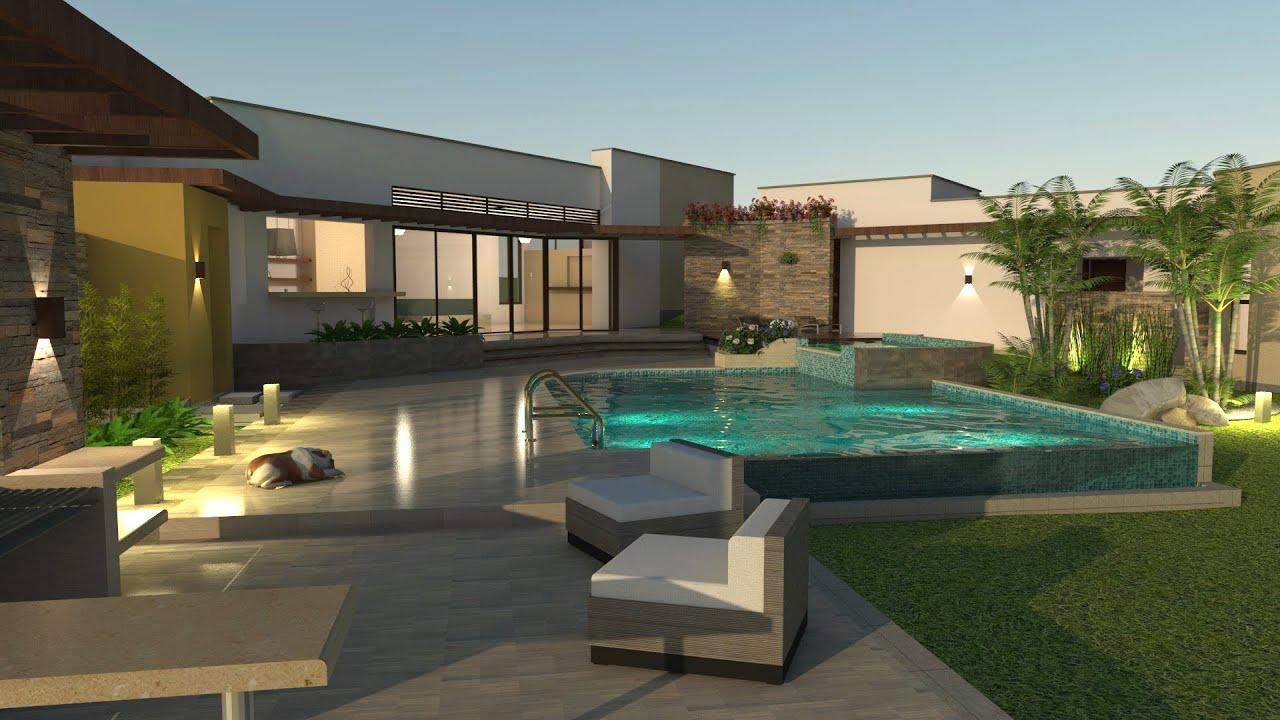 Planos de casas dise o campestre en un piso area 257 m2 for Disenos de pisos para casas