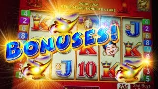 Bonus + 2 Re-Triggers Genie Magic $BIG WIN - 25c Aristocrat Video Slots