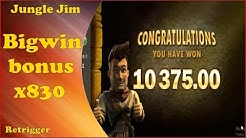 Jungle Jim slot big win bonus x830 in online casino!