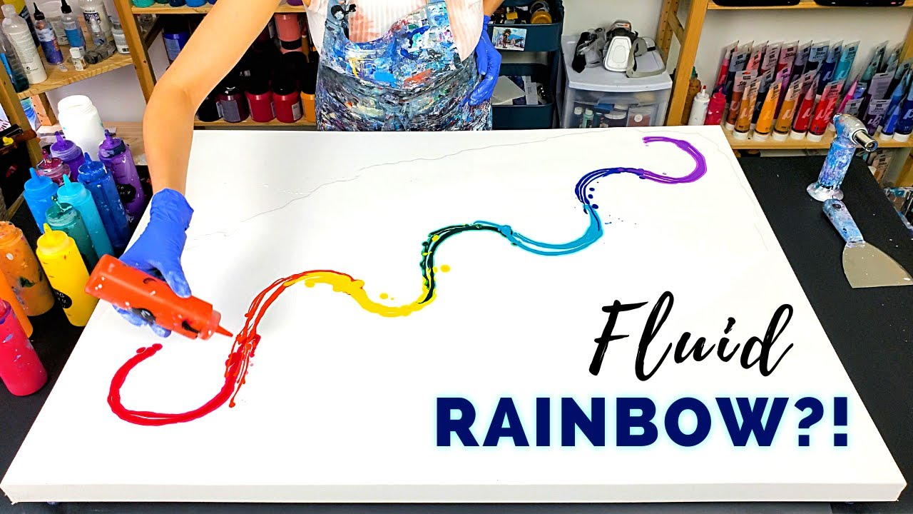 HUGE Rainbow Flow🌈 - Acrylic Pouring with Rainbow Colors - Just Paint & Water -Bright Fluid Painting