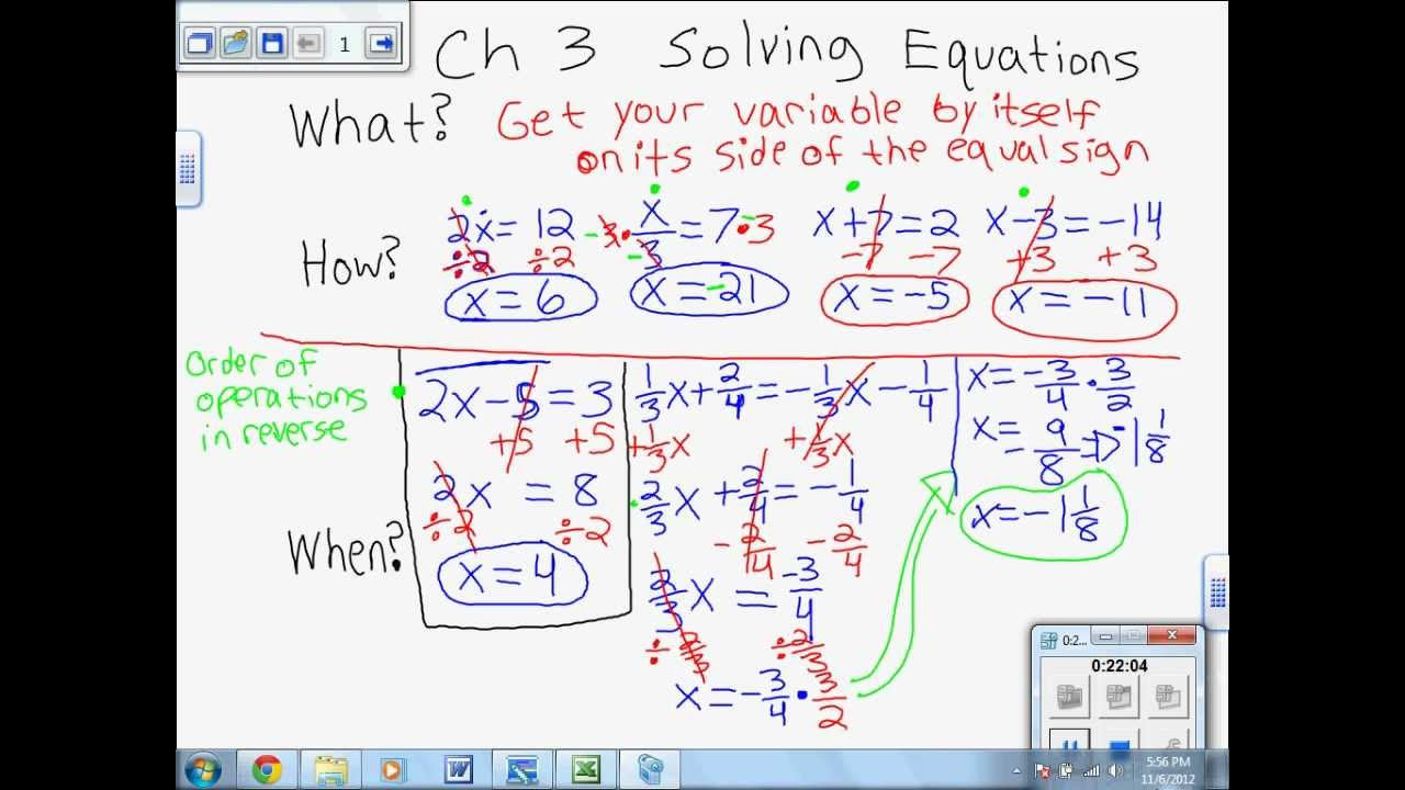 Solving (Linear) Equations Main Ideas (Ch 3) 7th Grade Math